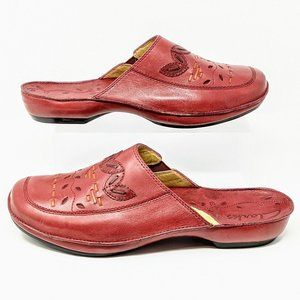 Red Leather Comfort Slip On Mules Size 10M